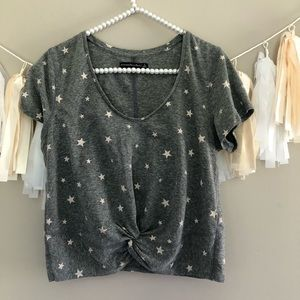 Abercrombie & Fitch Grey Star Print Crop Top